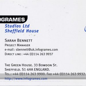 Sarah Bennett Infogrames business card